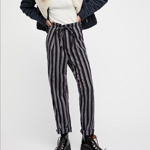 NEW Free People Plaid Striped Here & There Pants
